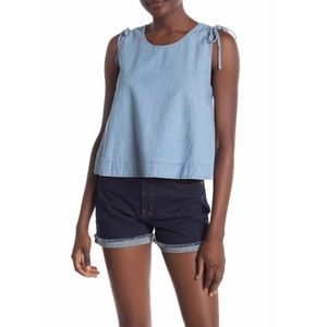 NWT MADEWELL Crop Swing Chambray Tank Top